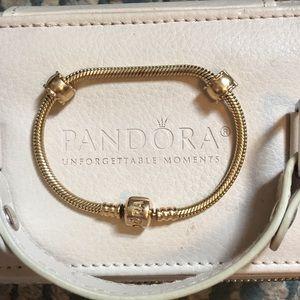 Pandora 14k gold bracelet w/ 2 clips